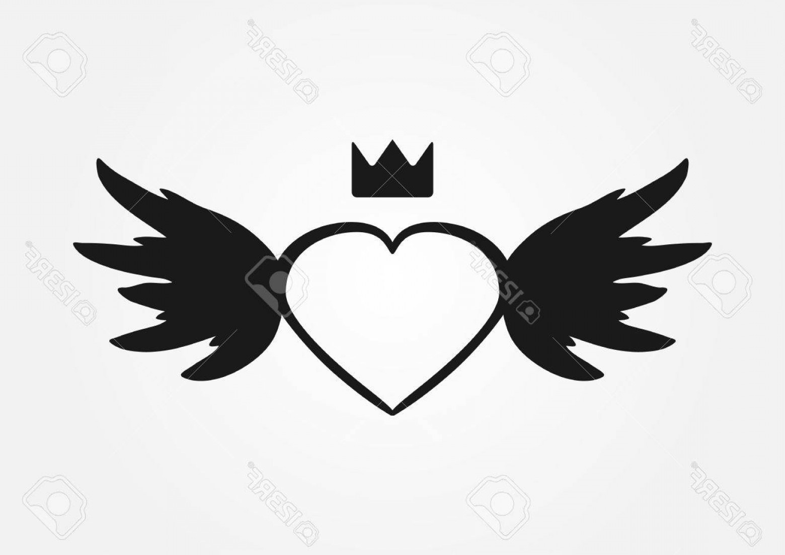 1560x1104 Photostock Vector Sketch Heart Wings Crown Abstract Silhouette