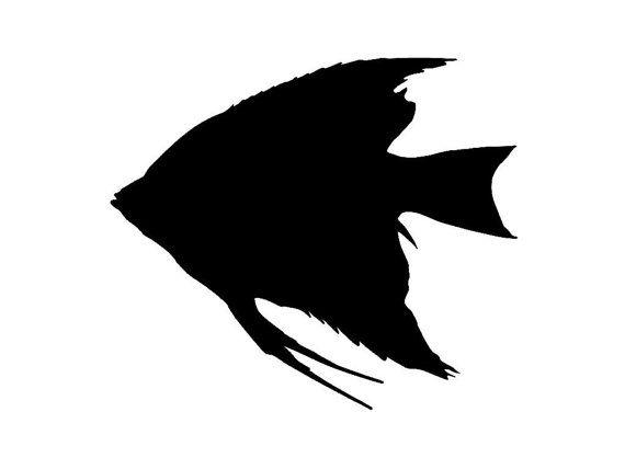570x428 Angel Fish Silhouette Custom Made Vinyl Decal By Tattoosforcars