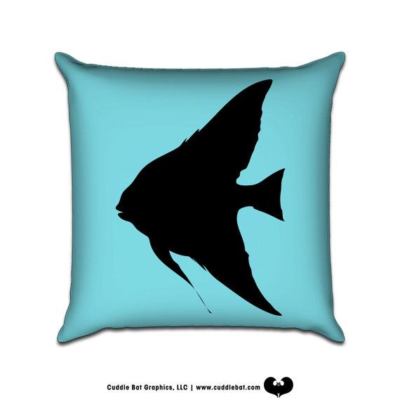 570x570 Angel Fish Silhouette Illustration Sofa Throw Pillow By Cuddlebat