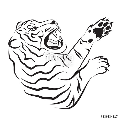 500x500 Illustration Of Angry Tiger. Tribal Art. Black Tattoo. Silhouette