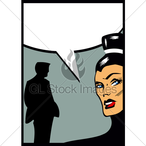 500x500 Pop Art Comic Couple Angry Woman Gl Stock Images
