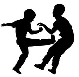 160x156 Two Boys Fighting Vector Silhouette. Two Young Brothers Fighting
