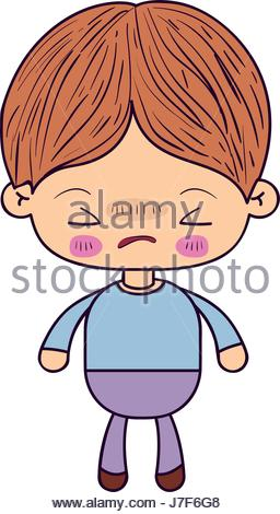 256x470 Colorful Silhouette Of Kawaii Little Boy With Facial Expression