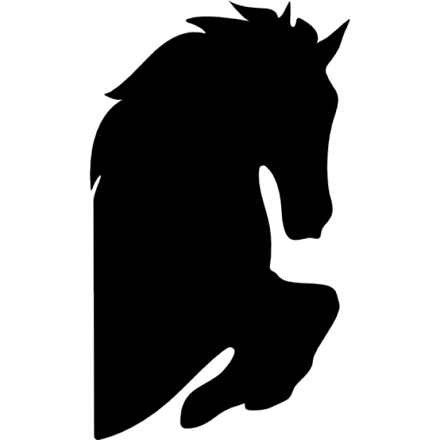 626x626 Horse Head Silhouette With Raised Feet Facing Right Icons Free