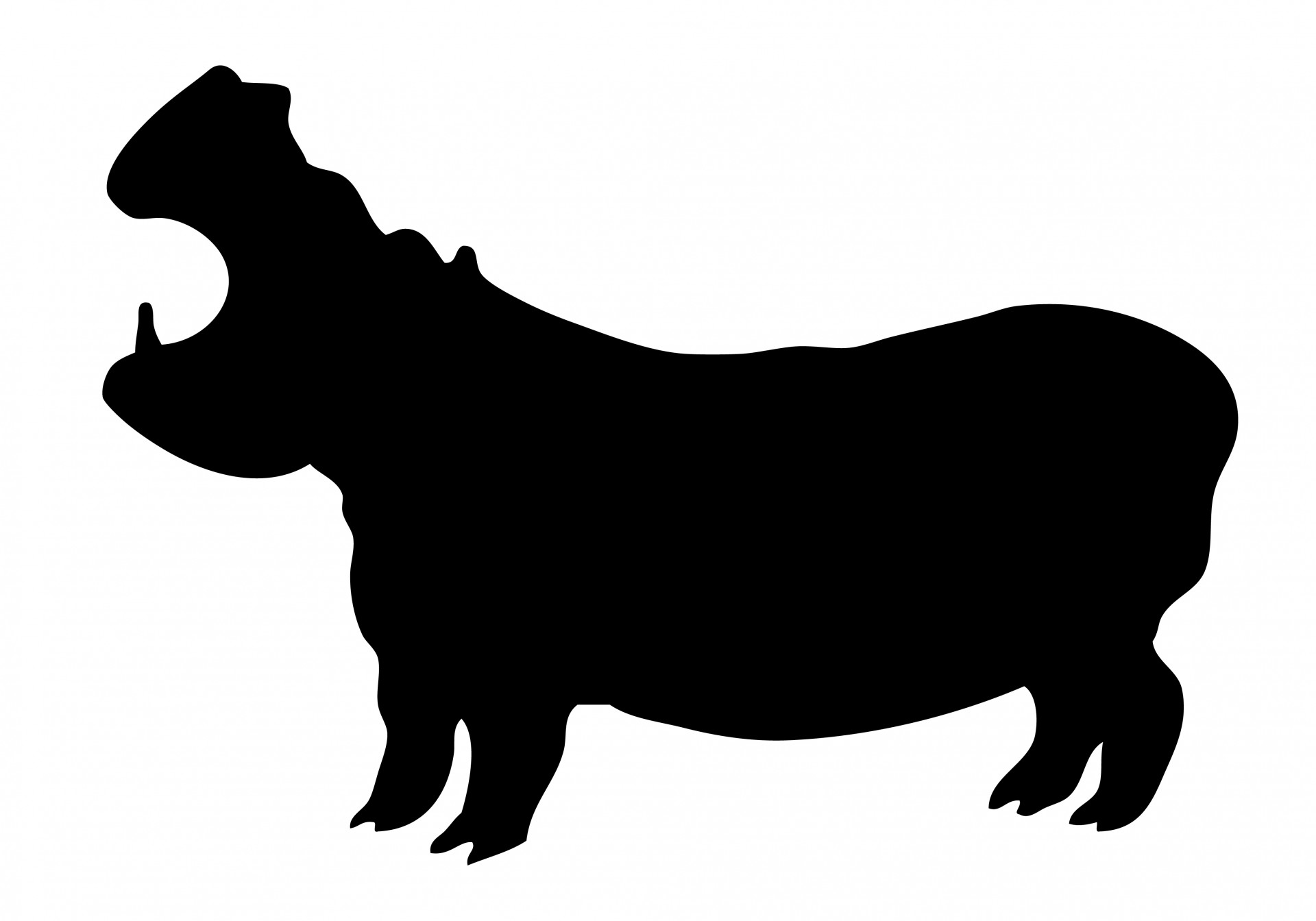 1920x1344 Hippopotamus Silhouette Clipart Free Stock Photo