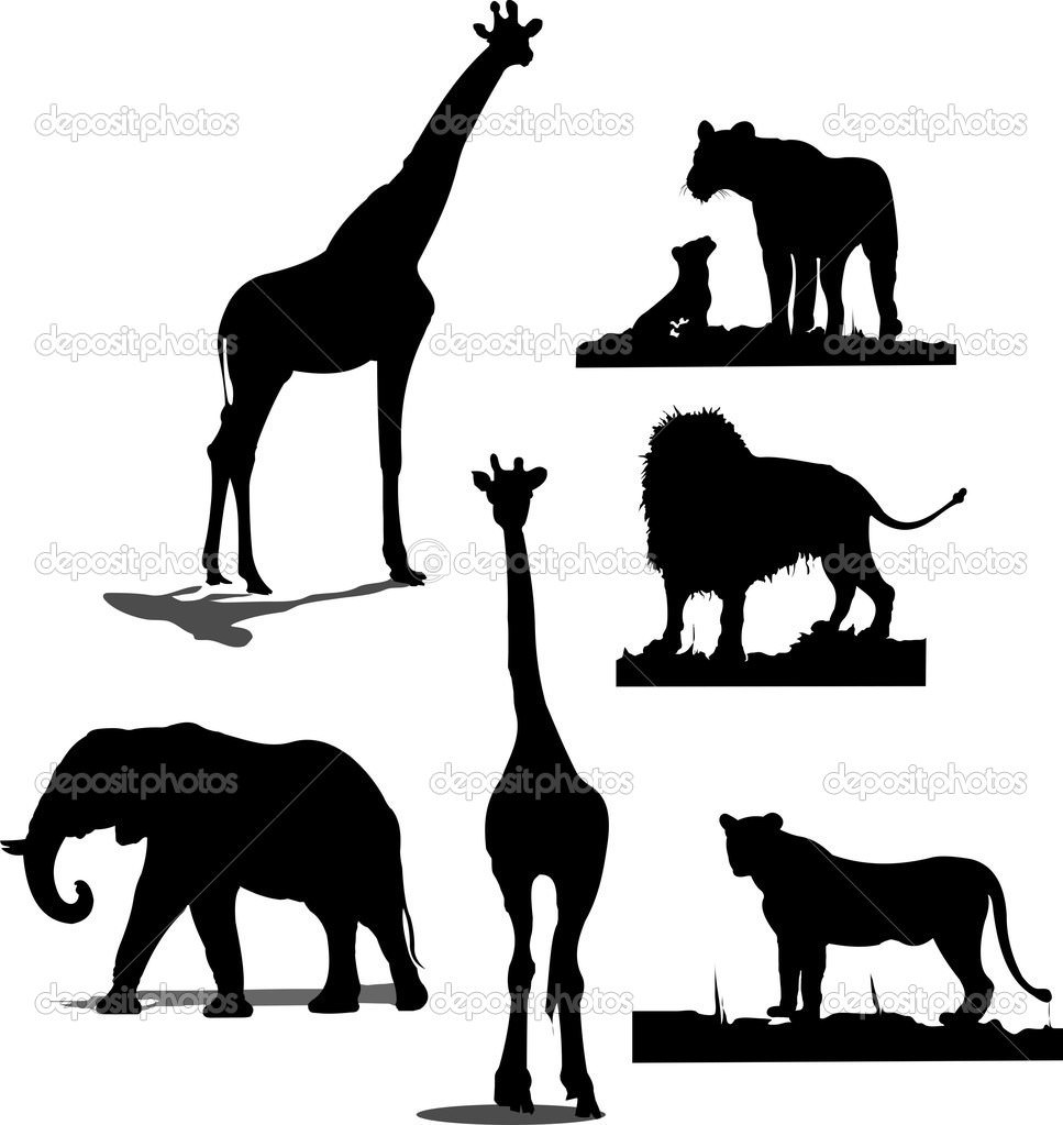 967x1023 Jungle Animal Silhouette Clipart