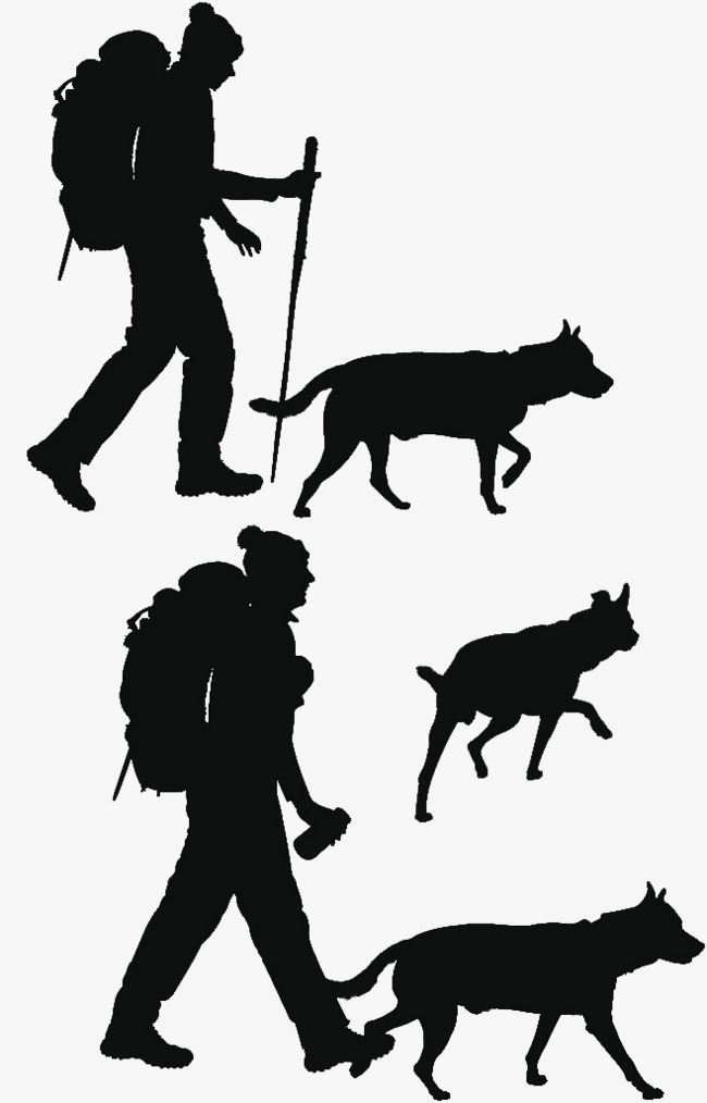 650x1014 Vector Backpackers And Animal Silhouettes, Knapsack, Backpackers