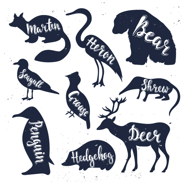 600x600 Animals Silhouette With Name Vectors 03
