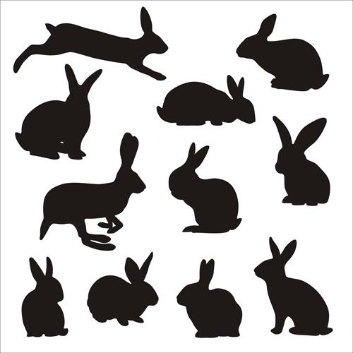 500x500 Rabbit Cute Silhouettes Vectors Free Vector In Adobe Illustrator