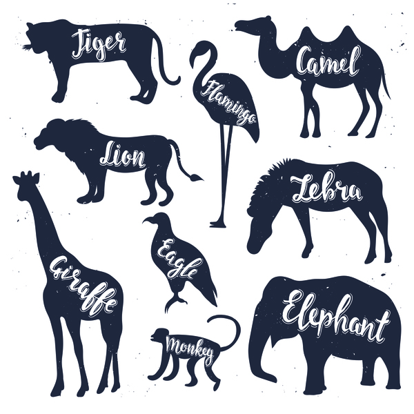 600x600 Animals Silhouette With Name Vectors 02