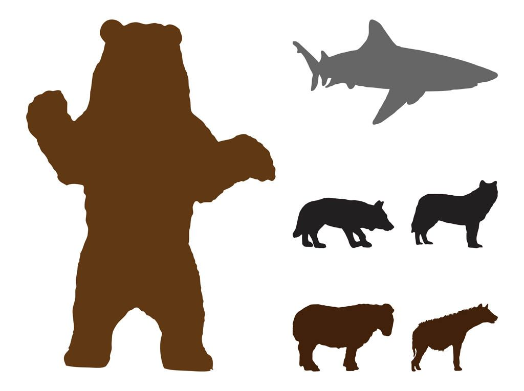 1024x765 Bear Silhouette Pattern Free Wild Animals Silhouettes Graphics