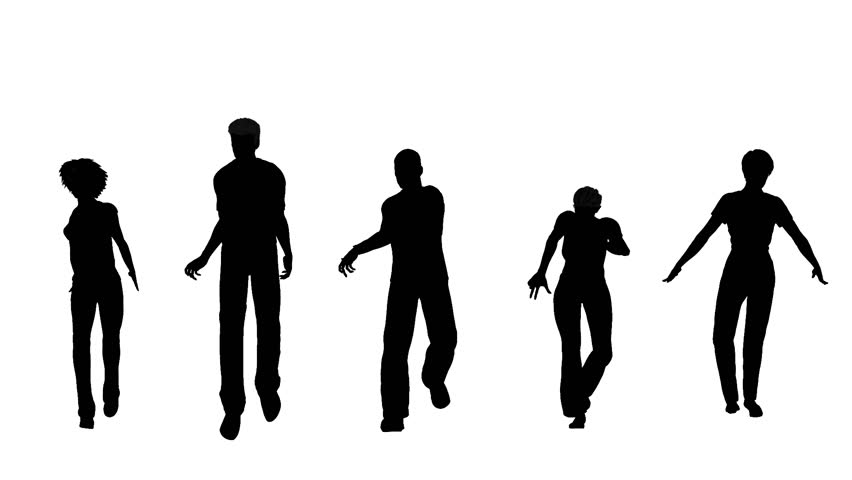 852x480 Looping Animated Silhouette Of People Walking Strangely With Alpha