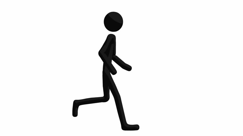 852x480 Animated Silhouette Loop Of A Man Running On A Pale Background