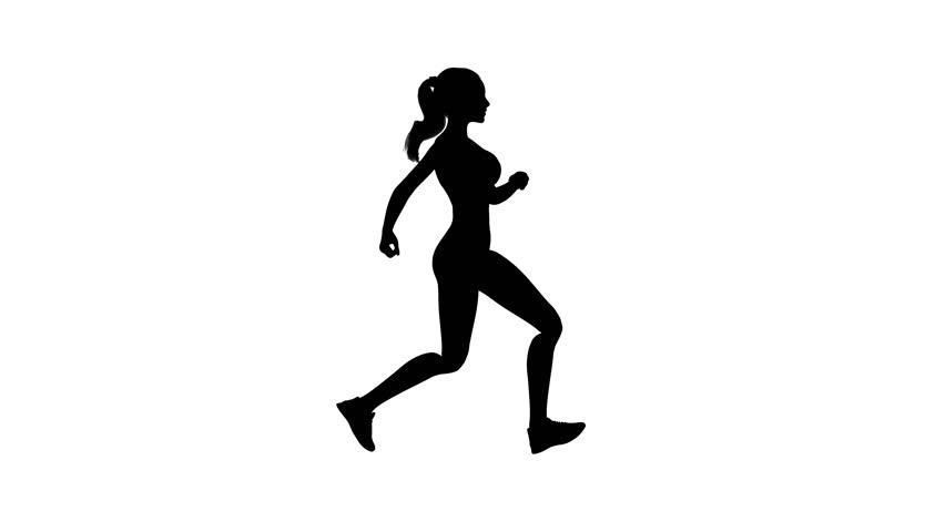 852x480 Animated Silhouette Loop Of People Running On A White Background