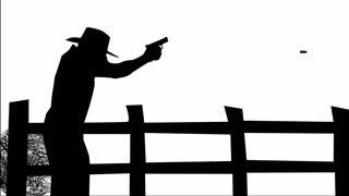 320x180 1196 Man Firing Gun Animation Silhouette, Hd Motion Background