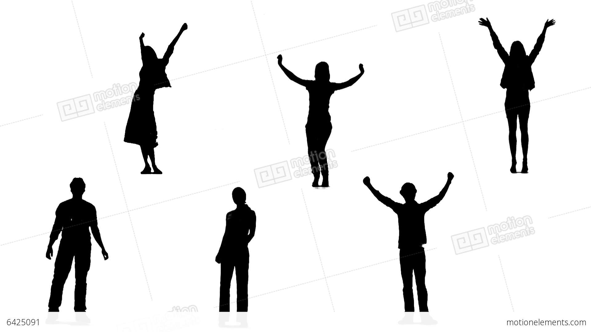 1920x1080 Silhouettes Of Young People Who Raise Arms Up 1 Stock Animation
