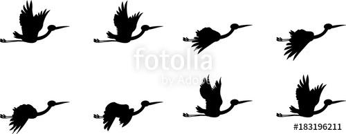 500x194 Storks Flying Animation Sprite Sheet, Animation, Bird Flying