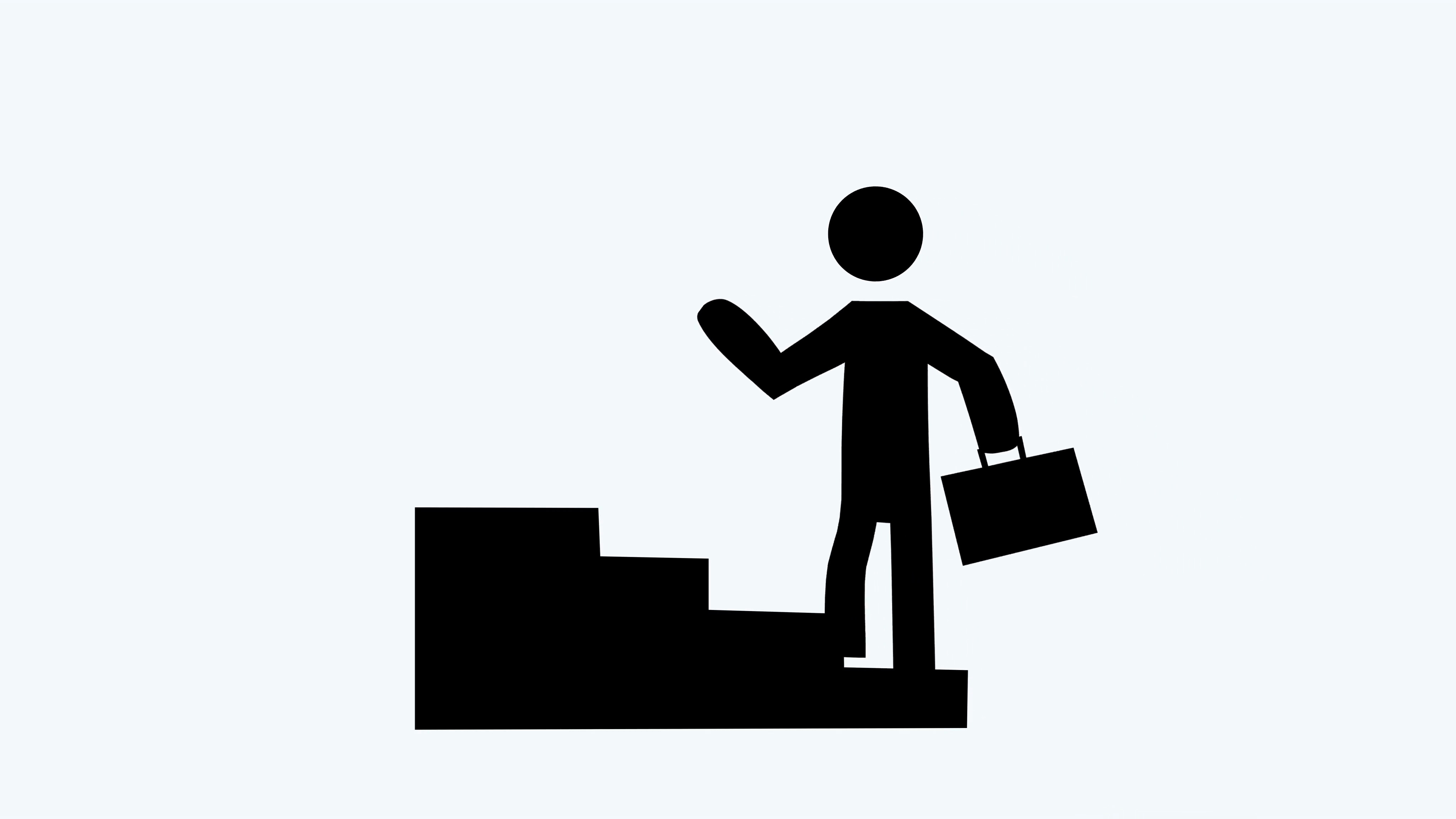 4096x2304 3556 Business Success Animation Man Walking Up Stairs On White, 4k