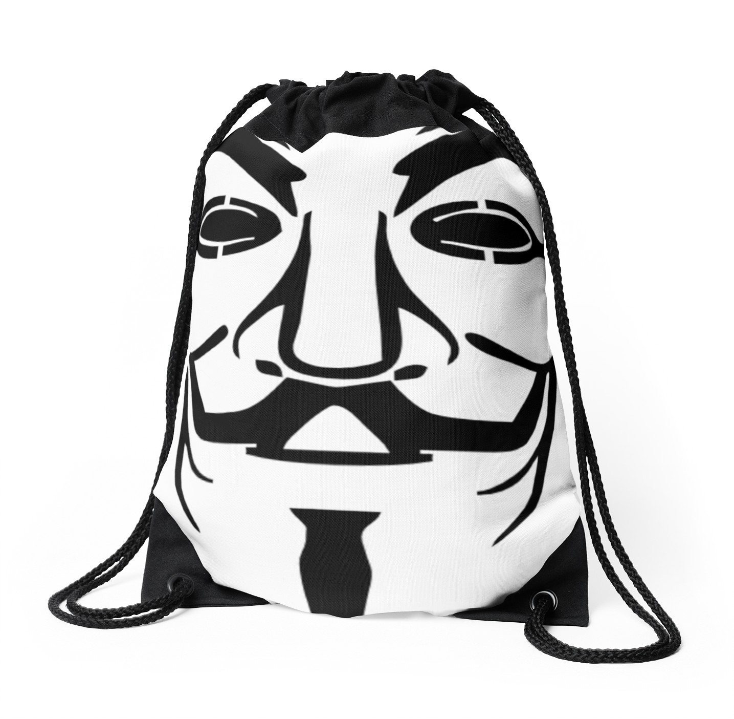 1435x1404 Anonymous Mask Silhouette Drawstring Bags By Ravanna Lotus