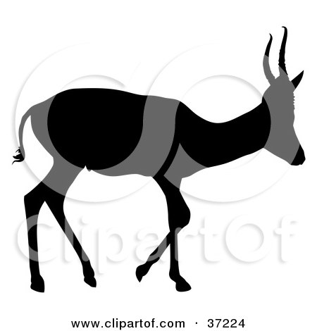 450x470 Clipart Illustration Of A Black Silhouette Of A Leaping Antelope
