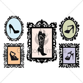 325x325 Shoe Silhouettes In Antique Frames, Vector Set Gl Stock Images