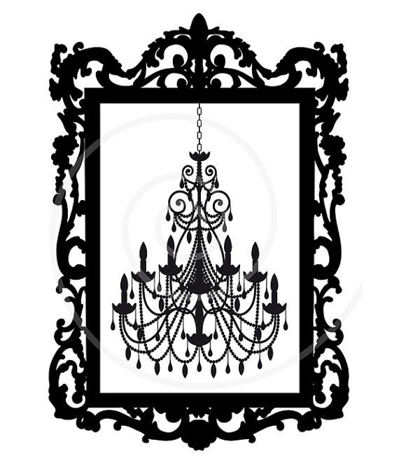 570x665 Vintage Chandelier In Antique Picture Frame, Silhouette, Vector