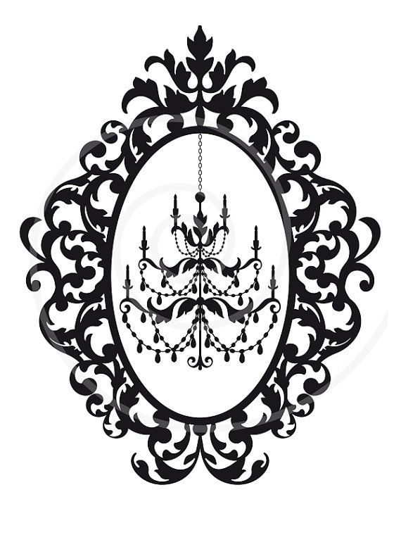 570x760 Antique Chandelier In Vintage Picture Frame Silhouette, Digital