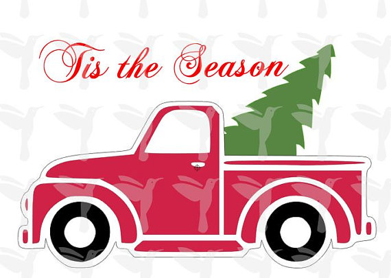 570x405 Christmas Tree Svg Antique Truck Svg Christmas Tree File