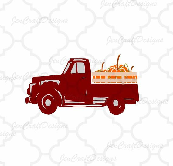 570x550 Vintage Old Red Fall Pumpkins Truck Svg Vintage Truck Svg