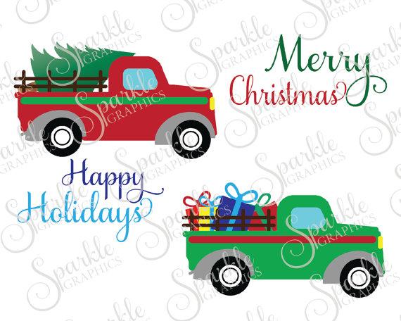 570x456 Antique Truck Cut File Christmas Svg December Svg Tree Vintage