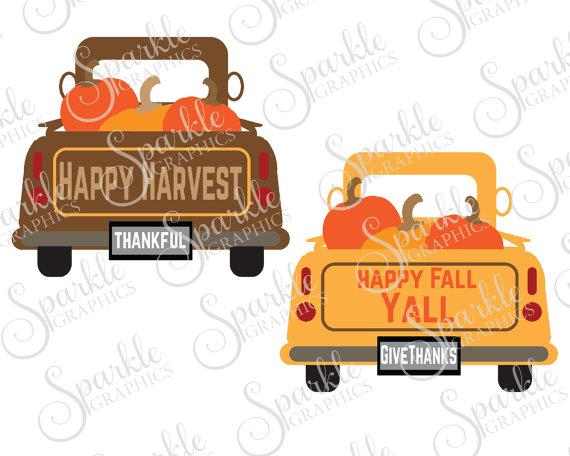 570x456 Antique Truck Cut File Fall Svg October Svg Pumpkin Vintage Truck