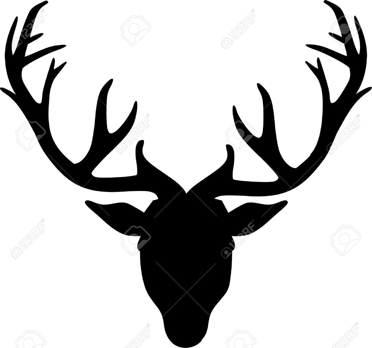 1300x1217 Deer S Head With Antler Black Silhouette Royalty Free Vector