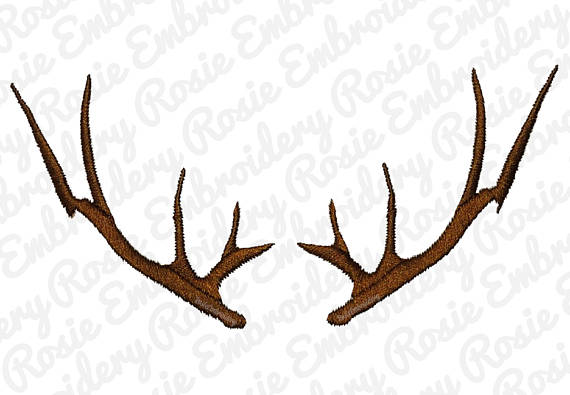 570x395 Deer Antlers Silhouette Embroidery Design Instant Download