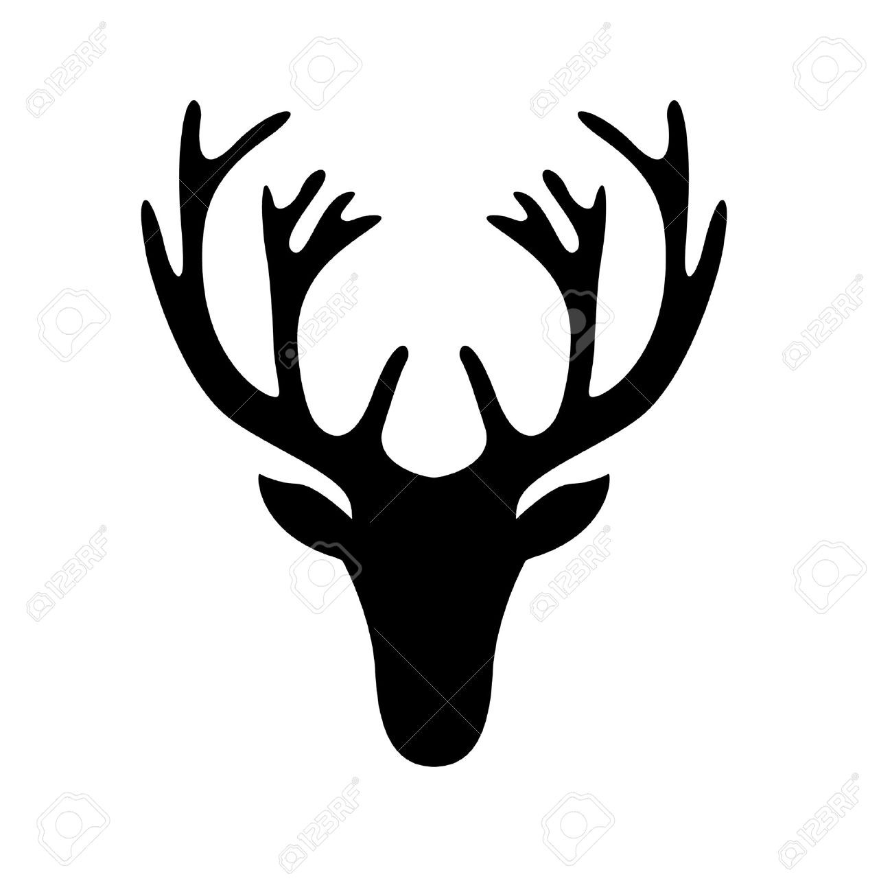1300x1300 Black Silhouette Of Deer Antlers Stock Vector Art 827623316 Istock
