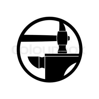 320x320 Blacksmithing Emblem. Logo For Smithy. Wrought Iron. Hammer