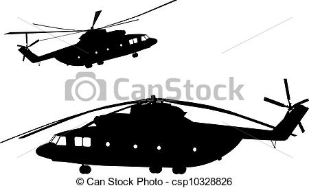 450x274 Detailed Helicopter Silhouettes. Vector On Separate Layers. Vector