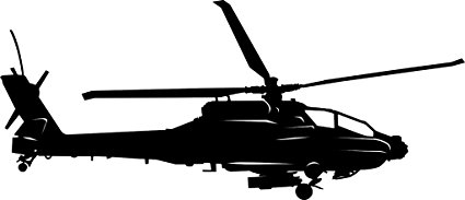 425x183 Large Detailed Apache Ah 64 Helicopter Vinyl Decal