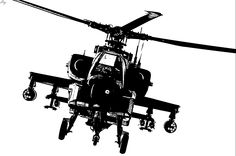 236x156 Apache Helicopter Silhouette