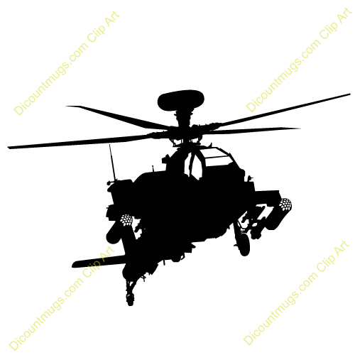 500x500 Apache Helicopter Silhouette Clipart