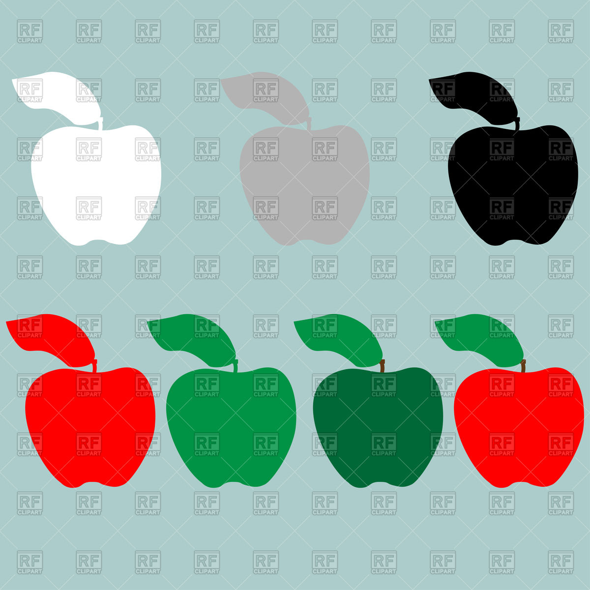1200x1200 Apple Silhouettes On Cyan Background