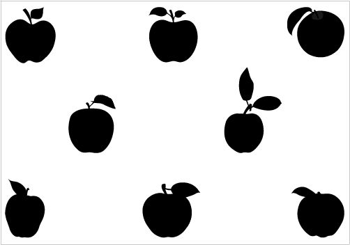502x352 Apples With Leafs Added To This Apples With Leaf Silhouette Vector