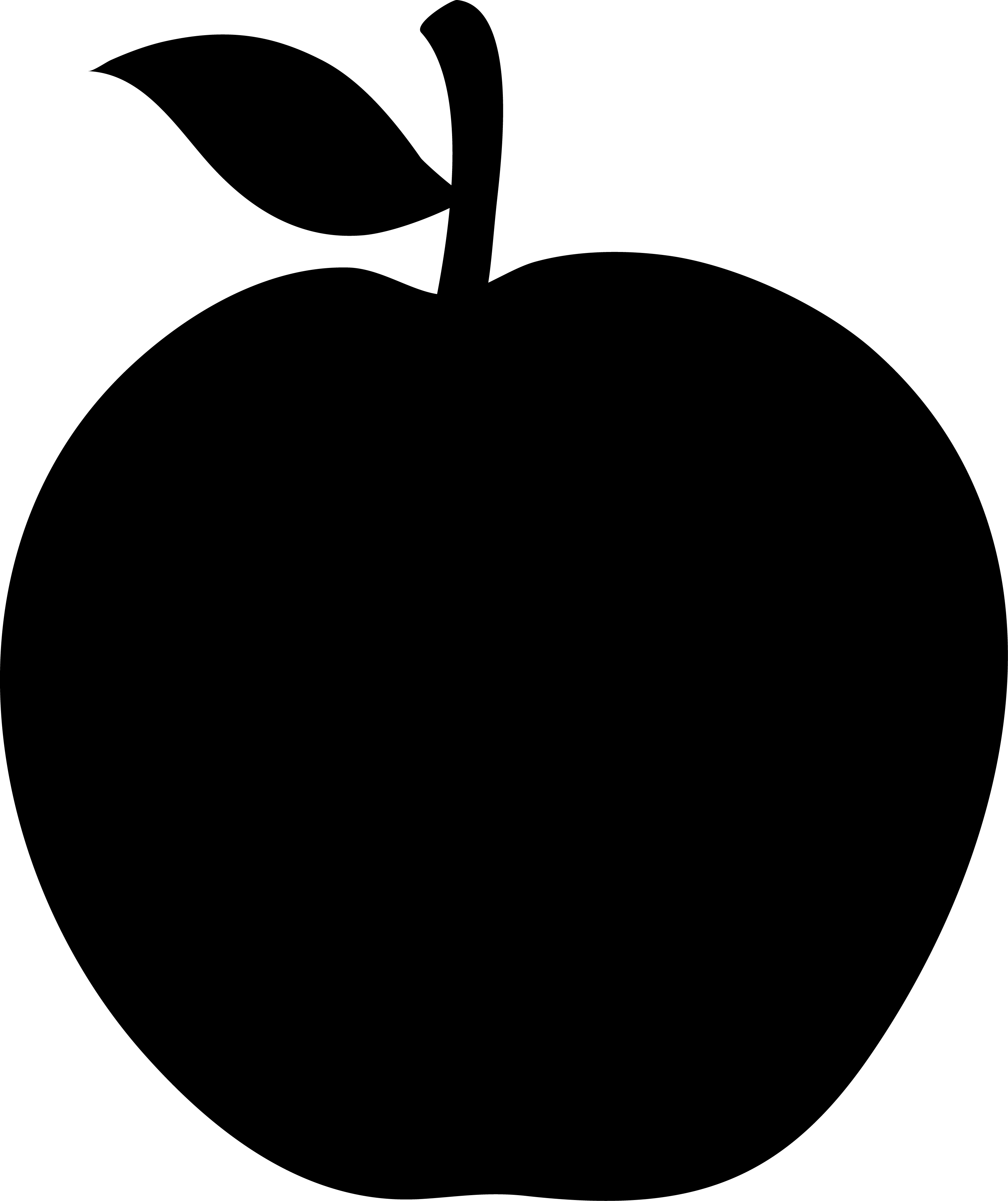 3097x3689 Black Apple Silhouette Vector