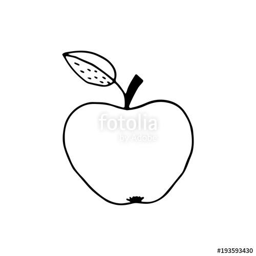 500x500 Linear Cartoon Hand Drawn Apple. Cute Vector Black And White