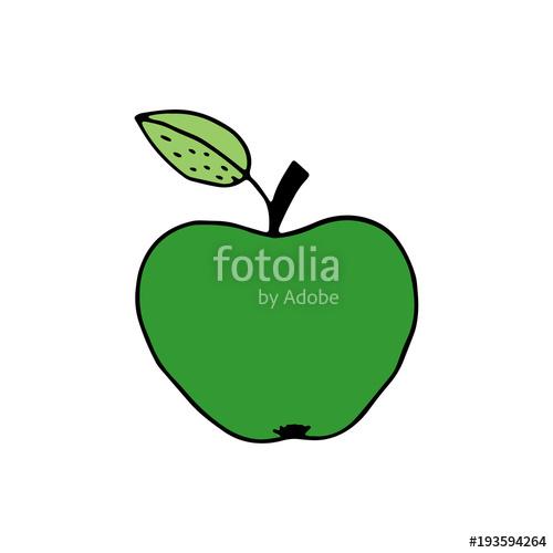 500x500 Linear Cartoon Hand Drawn Apple. Cute Vector Colorful Doodle Apple