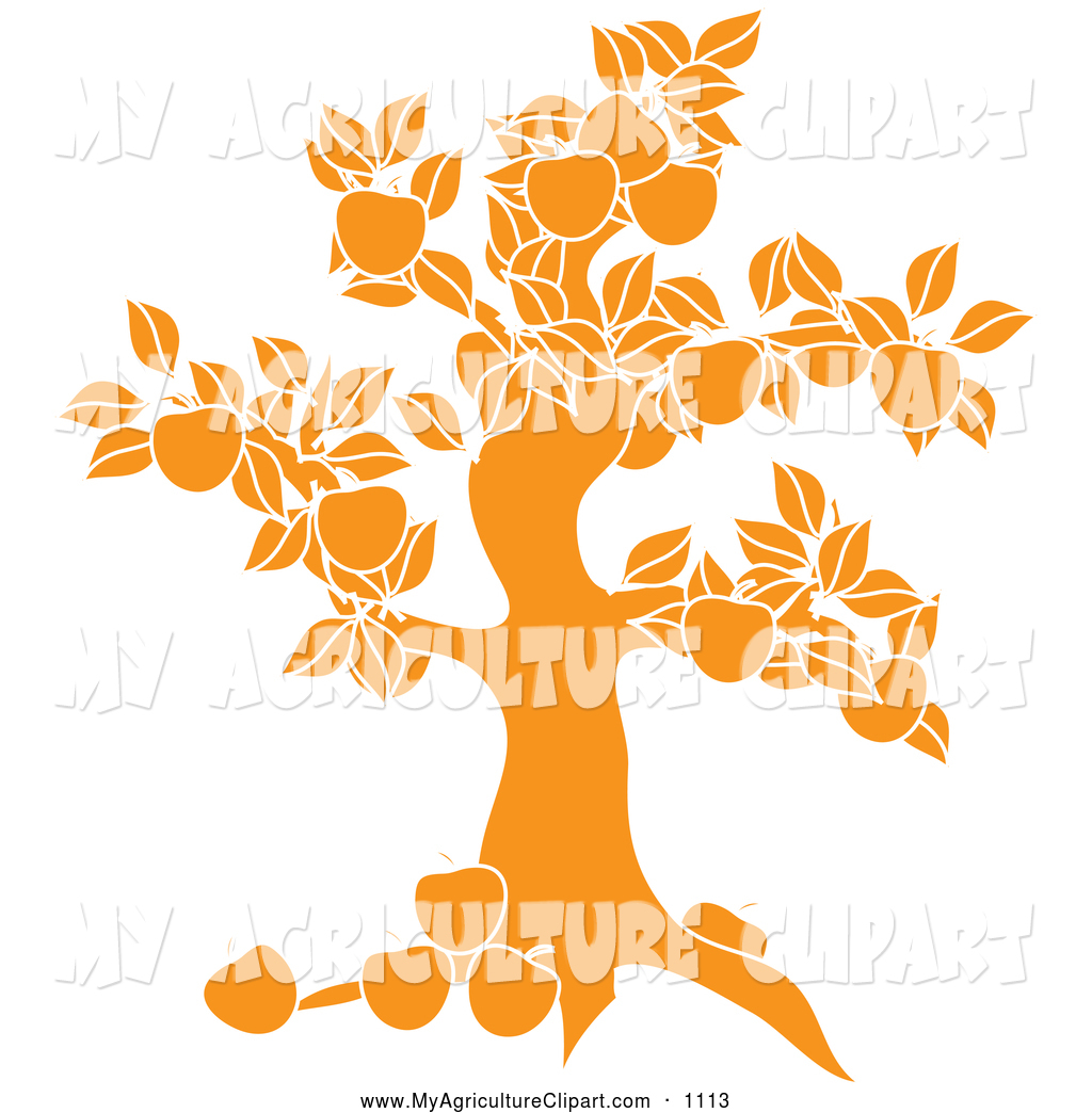 1024x1044 Vector Agriculture Clipart Of A Yellow Apple Tree Silhouette Logo