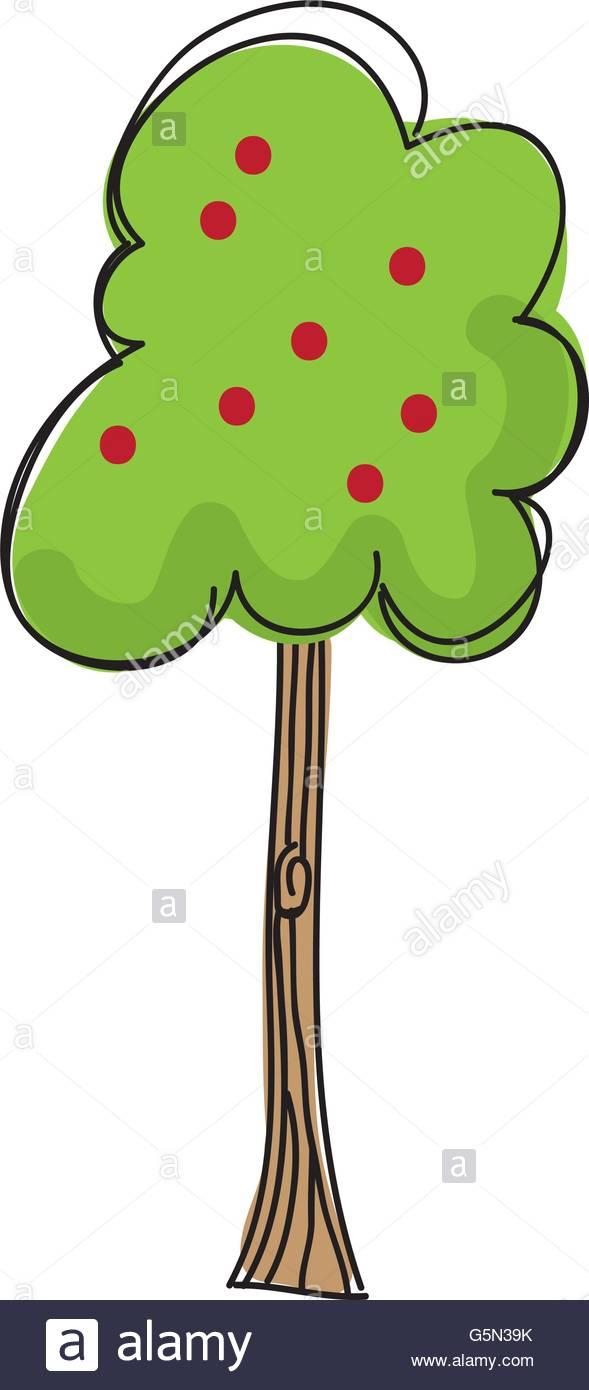 589x1390 Apple Tree Silhouette Isolated Icon Design Stock Vector Art