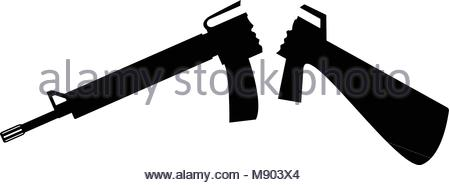 450x185 Silhouette Of Assault Rifle. Vector Illustration With White Stock