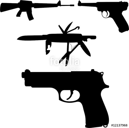 500x494 Gun Vector Silhouettes Stock Image And Royalty Free Vector Files