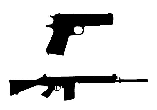 500x350 A Silhouette Of A Rifle And A Shortgun In Vector Format For Any