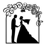 150x150 Wedding Couple And Arch Silhouette Design, Silhouettes And Cricut